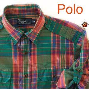 Men's Vintage Ralph Lauren Polo M Shirt Epaulets